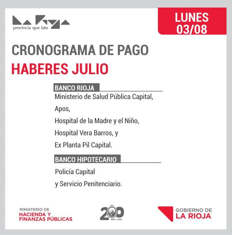 Pago del Lunes: Salud Pública Capital, APOS, HMyN, Hospital Vera Barros y Ex planta PIL Capital